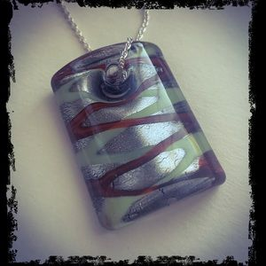 Unique Green, Red, Silver Glass Pendant Necklace